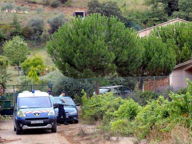 French Gendarmes stand in front of the house of Jens Breivnik, father of Anders Behring Breivik in Cournanel, southern France.