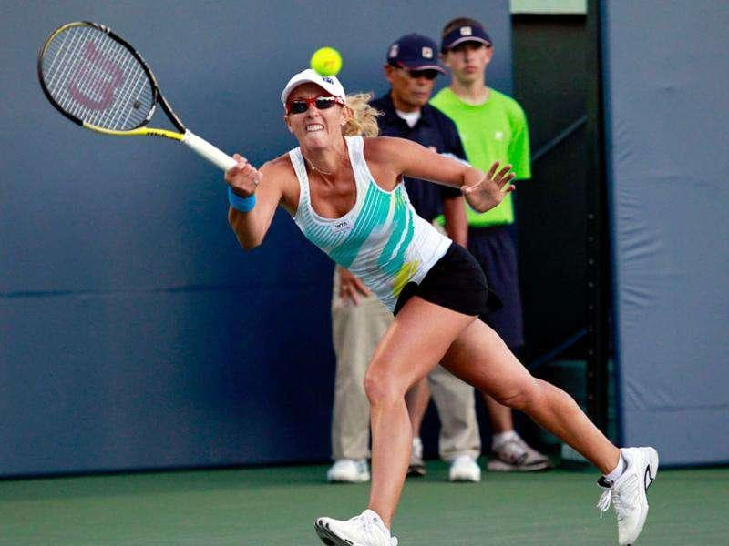 Australia's Anastasia Rodionova returns the ball against Serena Williams during her Bank of the West Classic tennis match in Stanford, California.