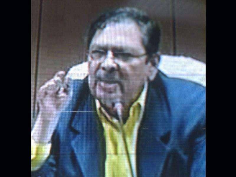 A TV grab shows Karnataka lokayukta Santosh Hegde during a press conference in Bangalore.