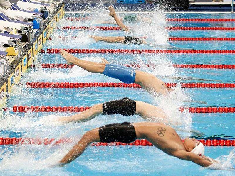 Participants start in the men's 200m backstroke heats at the 14th FINA World Championships in Shanghai.