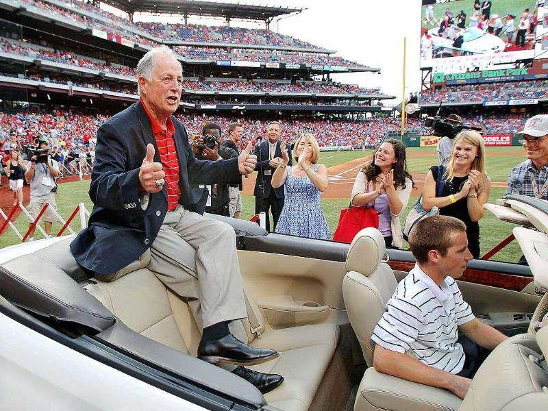 Former general manager Pat Gillick of the Philadelphia Phillies is honored pregame for being inducted into the Baseball Hall of Fame prior to his game against the San Francisco Giants at Citizens Bank Park in Philadelphia.