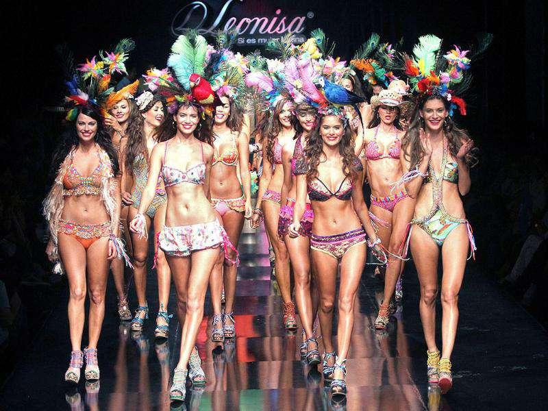 Models present a creation by Colombian brand Leonisa during the Colombiamoda fashion show in Medellin.
