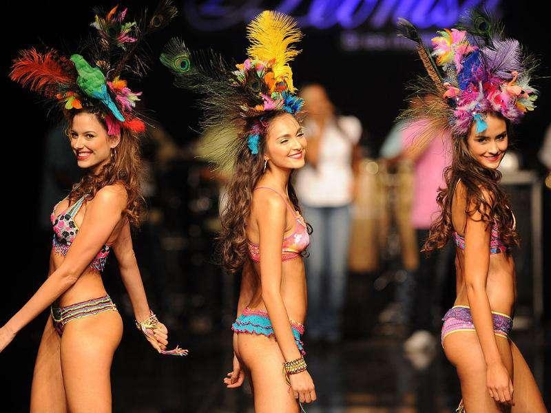 Models walk the ramp at Colombiamoda fashion show in Medellin, Antioquia department, Colombia. (AFP)