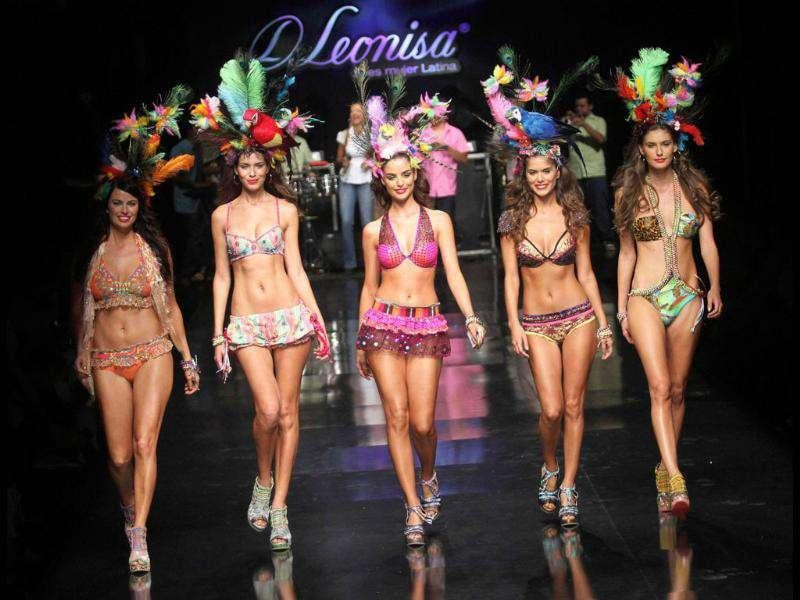 Models present a creation by Colombian brand Leonisa during the Colombiamoda fashion show. (Reuters)