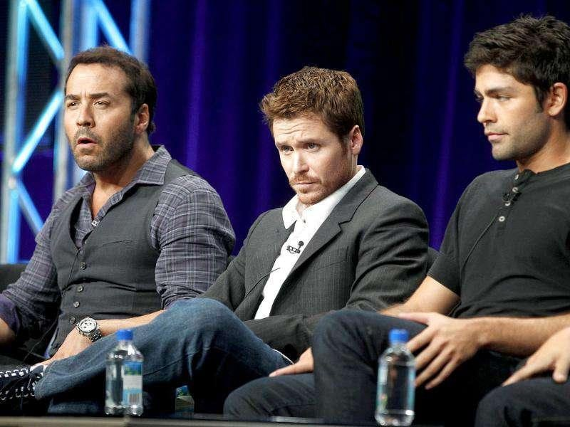 Cast members of the HBO series Entourage (from L to R) Jeremy Piven, Kevin Connolly and Adrian Grenier, Jerry Ferrara and Kevin Dillon take part in a panel discussion about the show during the HBO session at the 2011 Summer Television Critics Association Cable Press Tour in Beverly Hills, California.
