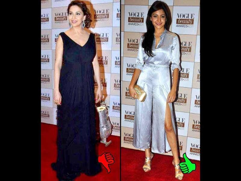 Anushka Sharma rocks a metallic silver jumper while Madhuri in a black gown fails to impress at Vogue Beauty Awards 2011. Check out who managed to score some points and who needs a stylist desperately. Follow us on @htShowbiz for latest fashion buzz