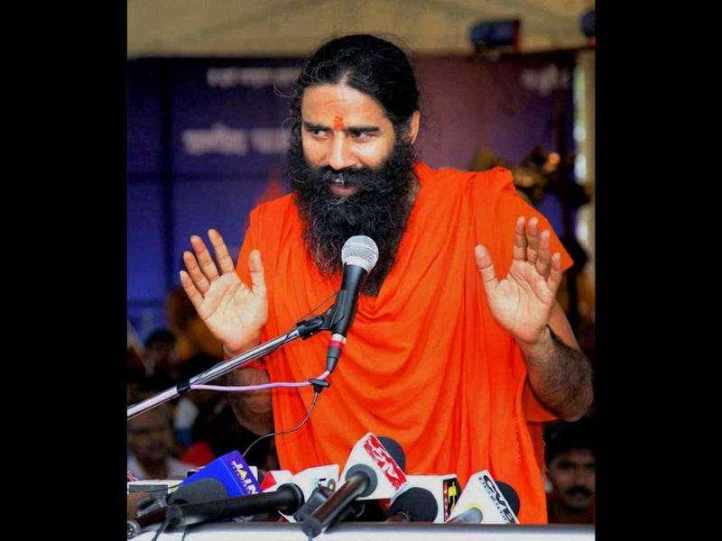 Baba Ramdev addresses a press conference in Haridwar.