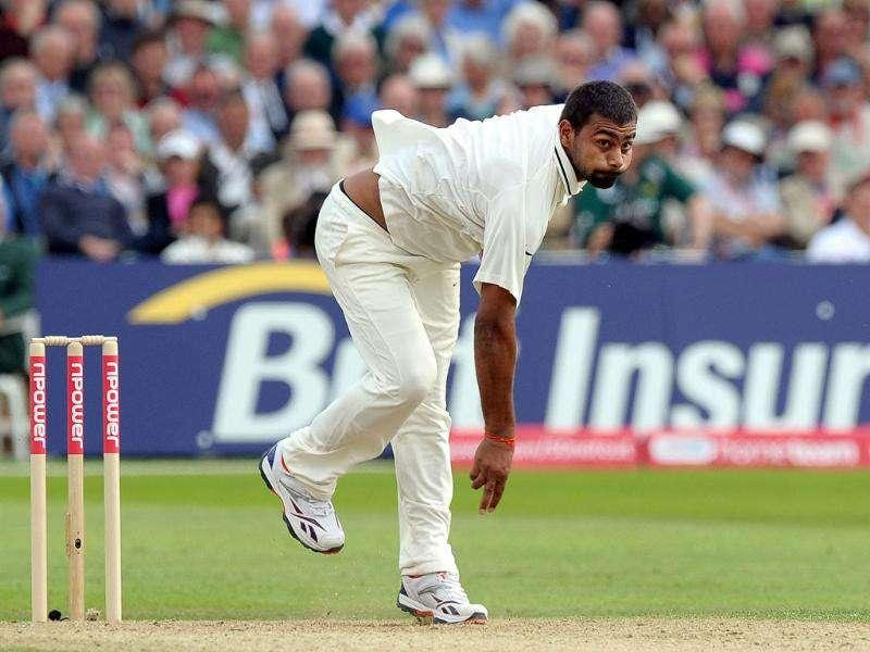 India's Praveen Kumar bowls during the first day of their second cricket Test match against England at Trent Bridge in Nottingham.