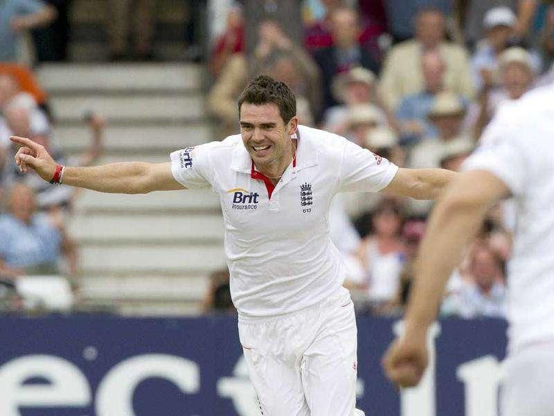 James Anderson celebrates taking the wicket of opener Abhinav Mukund with the first ball of the innings as India chase England's total of 221 on the first day of their cricket Test match at Trent Bridge Cricket Ground, Nottingham.