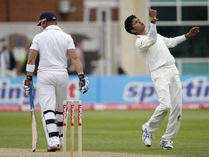 India's Sreesanth celebrates the wicket of England's wicket-keeper Matt Prior during the first day of the second cricket Test match at Trent Bridge in Nottingham.