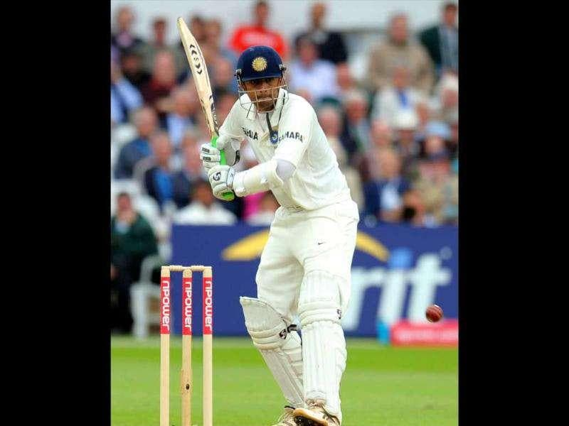 India's Rahul Dravid bats during the second day of their second cricket Test match against England at Trent Bridge in Nottingham.
