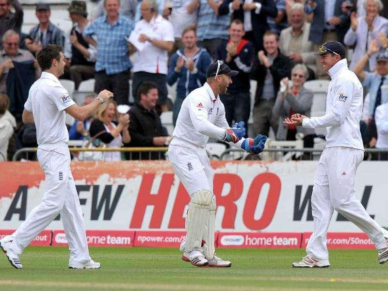 Kevin Pietersen celebrates catching Abhinav Mukund off the first ball of the innings during the second day of the second cricket Test match at Trent Bridge in Nottingham.