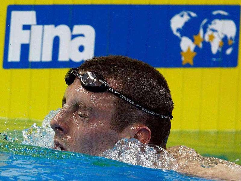 Canada's Ryan Cochrane is seen in the pool after competing in the men's 1500m freestyle heats at the 14th FINA World Championships in Shanghai.