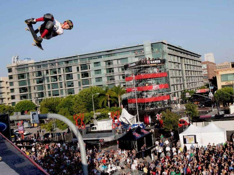 Mitchie Brusco competes in the Skateboarding Big Air final at X Games in Los Angeles.