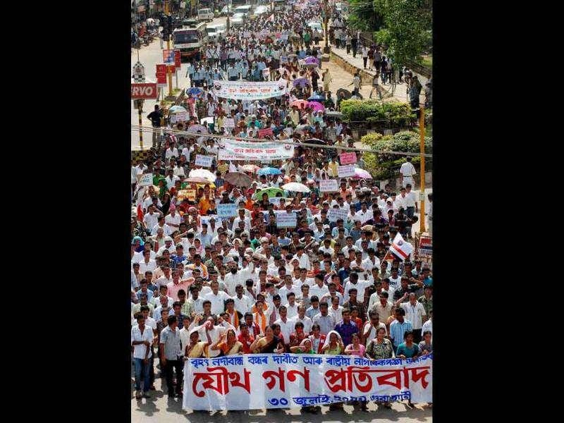 Activists of AASU staging a protest rally over various issues including the issue of mega dams in Guwahati.