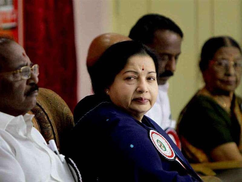 Tamil Nadu chief minister and AIADMK chief J Jayalalithaa attending the party's executive meeting in Chennai.