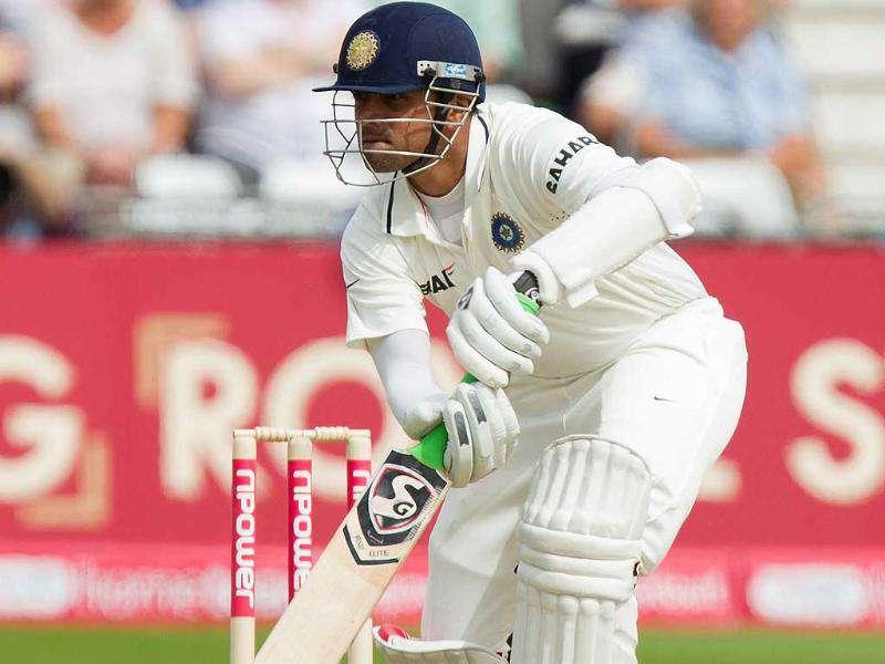 Rahul Dravid faces a ball during the first over of the second day of his team's cricket Test match against England at Trent Bridge cricket ground, Nottingham, England.
