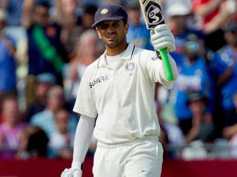 Rahul Dravid acknowledges reaching his century on the second day of his team's cricket Test match against England at Trent Bridge cricket ground, Nottingham, England.