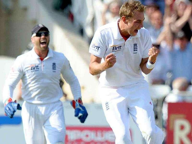England's Stuart Broad celebrates bowling out India's Harbhajan Singh for 0 runs during the second day of the second cricket Test match at Trent Bridge in Nottingham, central England.