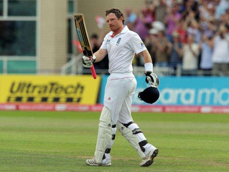 England's Ian Bell celebrates 100 not out during the third day of the second cricket Test match at Trent Bridge in Nottingham.