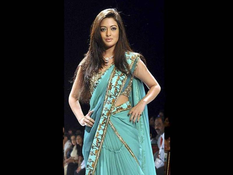 Model and actress Riya Sen walked for designer Neeta Lulla in a soothing green combination at IIJW. (AFP)
