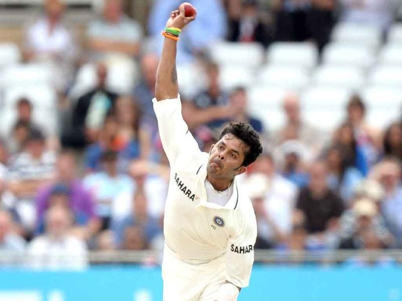 Sreesanth bowls during the fourth day of the second cricket Test match at Trent Bridge in Nottingham.