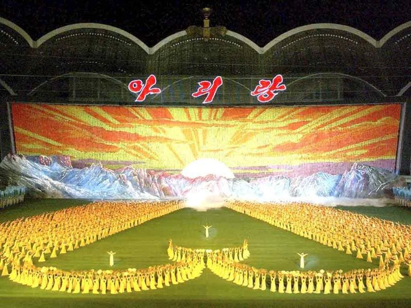 North Koreans perform during the Arirang Mass Games at the May Day Stadium in Pyongyang.