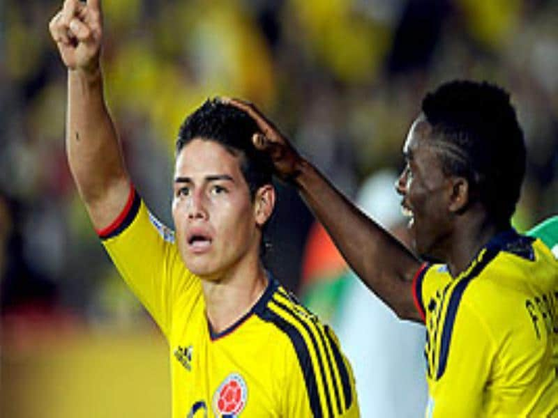 Colombia's player James Rodriguez (L) celebrates with teammate Fabian Castillo after scoring against Mali during the FIFA U-20 World Cup first round football match held in Bogota, Colombia.