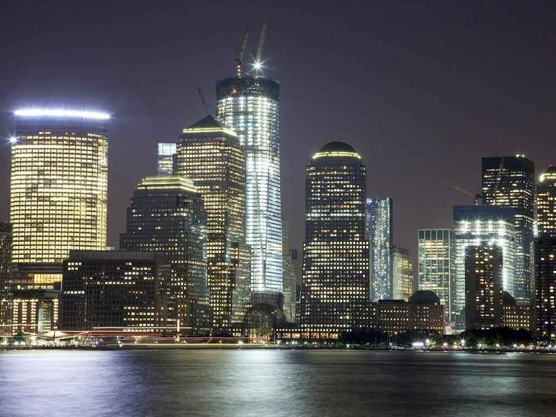 One World Trade Center towers over the lower Manhattan skyline 2011 in New York.