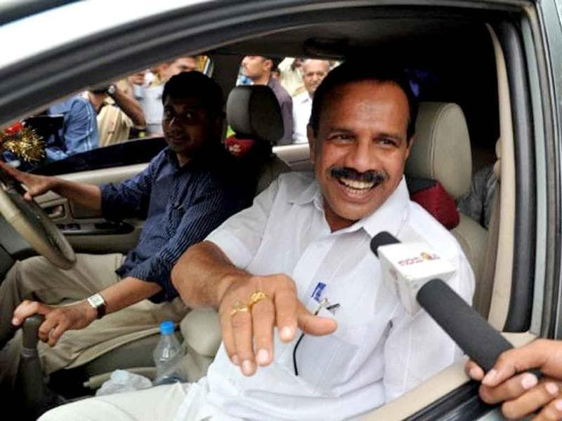 DV Sadananda Gowda, newly elected chief minister of Karnataka, speaks to the media outside former chief minister BS Yediyurappa's residence in this file picture.