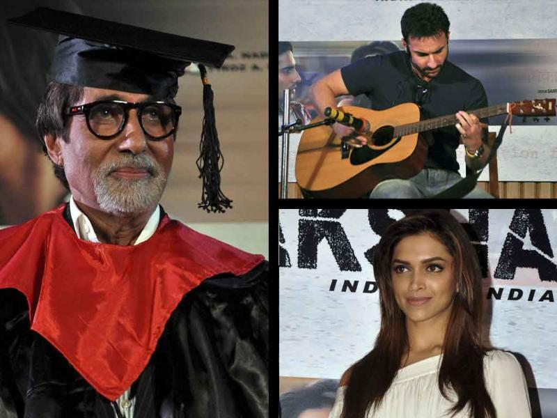 Aarakshan promotions are on in full swing as Saif, Deepika, Big B and other cast members came together for a press meet in Mumbai. But what was Big B doing in a convocation gown, and why Saif posed with a guitar? Click for pics.Follow @htShowbiz for the latest celeb buzz