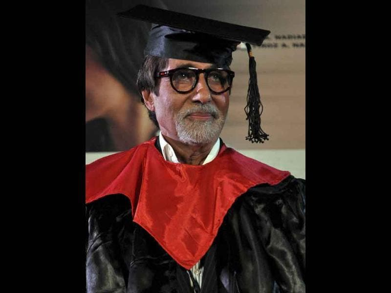 Back to university: Amitabh Bachchan looks atleast five years younger in his convocation gown.