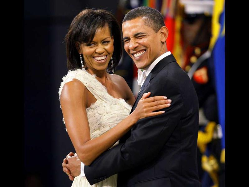 File image of US President Barack Obama and first lady Michelle Obama dancing at the Western Inaugural Ball in Washington.