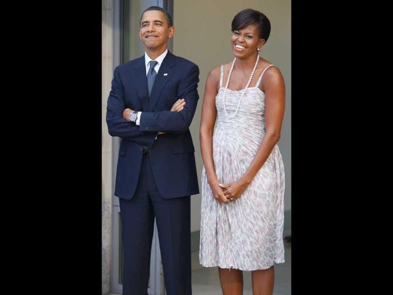 File image of US President Barack Obama and first lady Michelle Obama waiting to receive guests at the G-20 summit dinner in Pittsburgh.