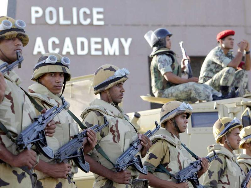 Egyptian army soldiers stand alert outside the police academy in Cairo. (AP/Amr Nabil)