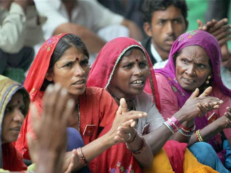 Women take part in a dharna demanding repeal of Land Acquisition Act 1894 and protection of water, forest , land, minerals and livelihood rights, at Jantar Mantar, New Delhi