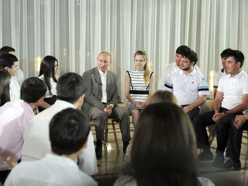 Russia's Prime Minister Vladimir Putin meets with representatives of youth organisations in Mineralnye Vody in the North Caucasus Federal District.