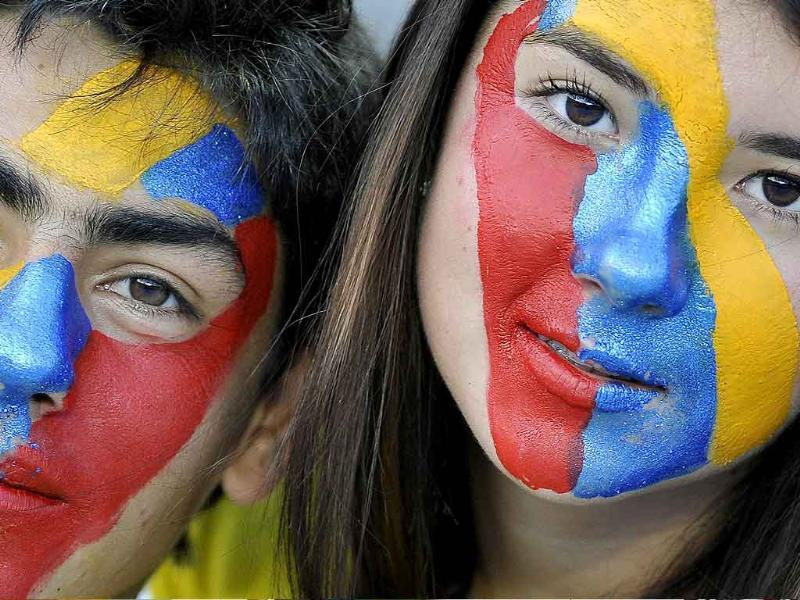 Colombia fans show their support before the FIFA's Under-20 World Cup football match between France and Mali held at the Pascual Guerrero stadium in Cali, Valle del Cauca department, Colombia.