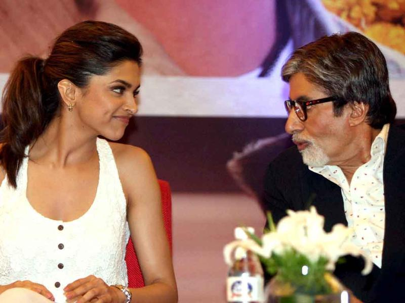 Actors Amitabh Bachchan and Deepika Padukone during a promotional event for their upcoming film Aarkshan in New Delhi.