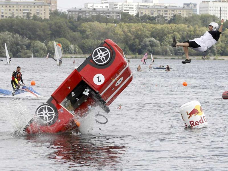 A participant falls during the Red Bull Flugtag Russia 2011 on the outskirts of Moscow.