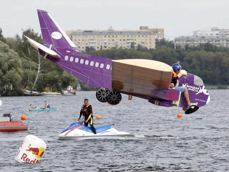 A participant is seen during the Red Bull Flugtag Russia 2011 on the outskirts of Moscow.