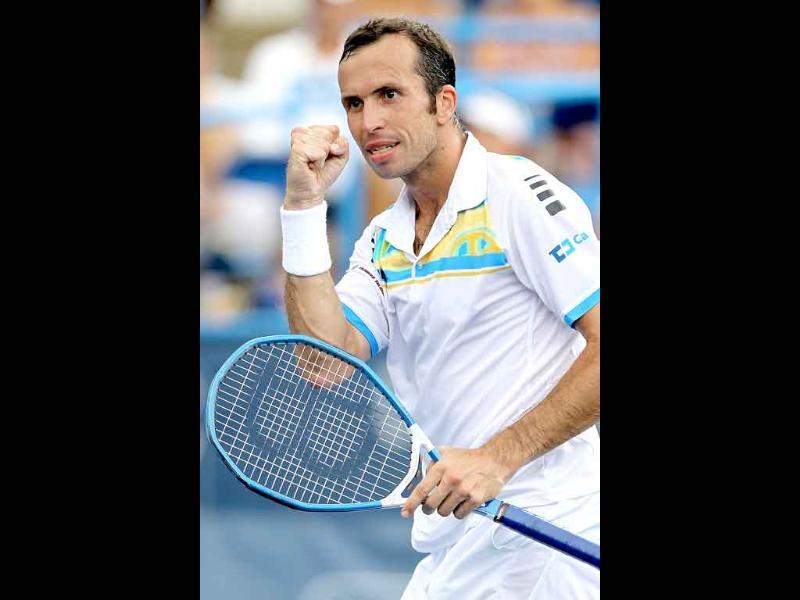 Radek Stepanek of the Czech Republic celebrates a point against Gael Monfils of France during the final of the Legg Mason Tennis Classic.