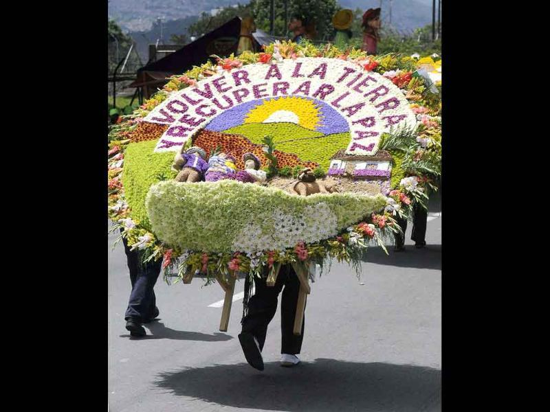 View of a 'silleta' (saddle), made of flowers exhibited by countrypeople during the Silleteros Parade, a central event of the Flowers Fair in the city of Medellin, Colombia