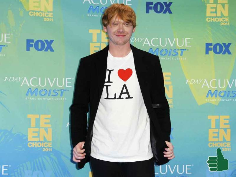 The men have taken casual-chic and made it their own. Check Rupert Grint out in his 'I Love LA' T-shirt.
