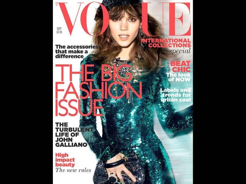 Vogue UK: Freja BehaClad in a green glittery dress, the Danish model poses with style.