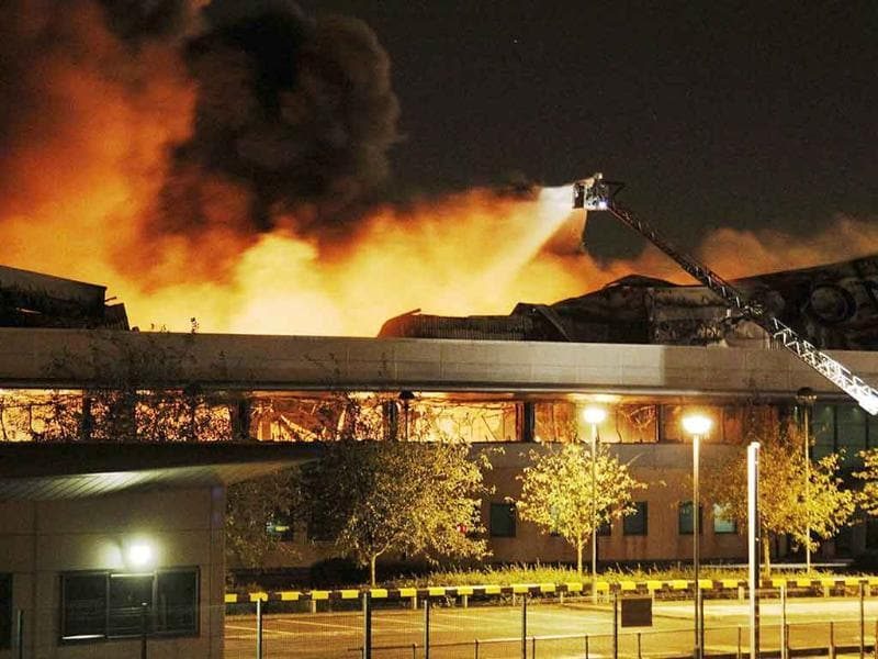 Fire destroys a Sony warehouse in Enfield in north London.