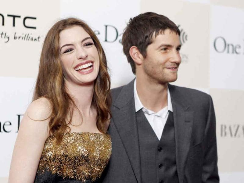 Cast members Anne Hathaway and Jim Sturgess arrive for the premiere of the film One Day in New York.
