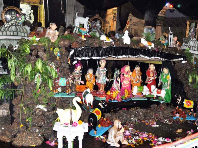 A view of 'Kali Ghata', an  annual decoration during the Sawan month, at Dwarkadheesh Temple in Mathura.