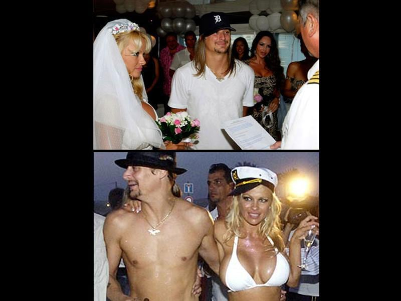 Pam Anderson and Kid Rock: July 29, 2006After their broken engagement, Pamela Anderson and Kid Rock got married on a yacht in St Tropez. Pamela wore a low-cut dress (soon replaced by a white stringed bikini) and Kid Rock sported a white T-shirt (which was soon off him). They were divorced four months later.