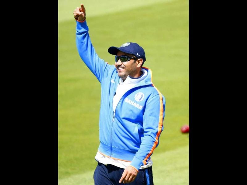 Virender Sehwag during a net session at the Edgbaston Cricket Ground, Birmingham, England.